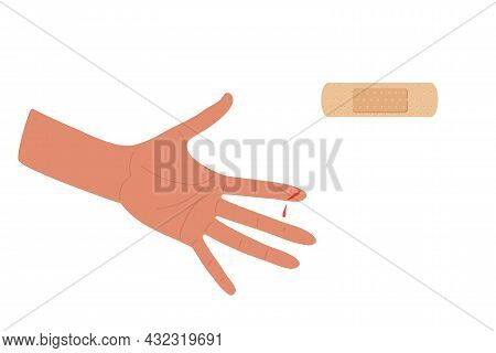 Physical Injury. First Aid For Cuts. Dressing Patch And Injured Arm. Index Finger Cut On Arm. Adhesi