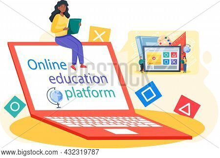 Online Education Concept. E-learning, Home Schooling. Woman Student Working On Laptop, Learns Remote