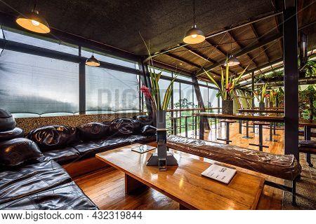 Bijagua De Upala, Costa Rica - January 17, 2020 : Interior Of A Bar In Celeste Mountain Lodge, A Thr