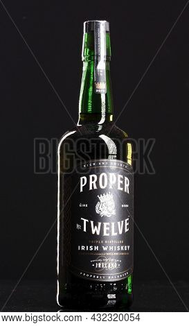Berlin - JAN 15, 2020: Proper No. Twelve  Irish whisky  on store shelf in Berlin. Proper No. Twelve is an Irish whisky brand founded by mixed martial arts champion Conor McGregor