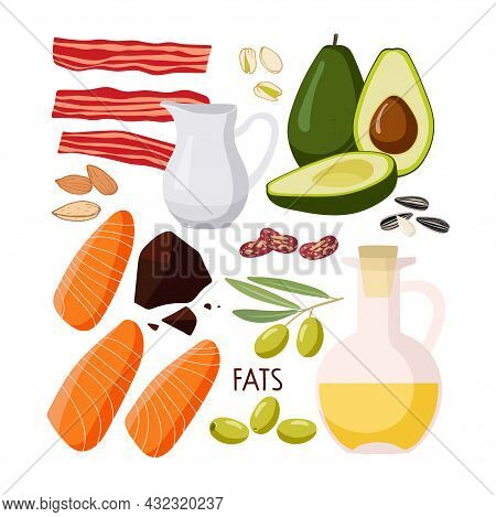 Food Macronutrients. Rich In Fat Food Set. High Fat Food Isolated On White Background. Olive, Oil, A