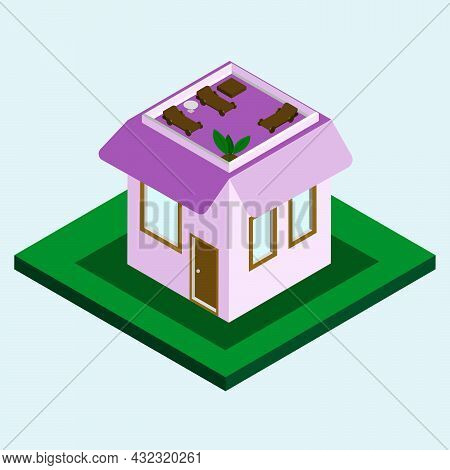 Small Pink Private Isometric House With Rest Zone On The Roof With Coffee Table, Deck Chair And Plan