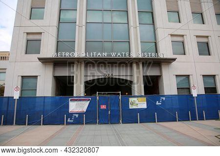 August 27, 2021 Los Angeles California: Metropolitan Water District Building and Sign. Metropolitan Water District building at 700 Alameda Street adjacent to Union Station.