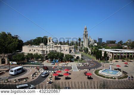 August 27, 2021 San Diego, California: Mingei International Museum, Plaza de Panama and the Museum of Us in Balboa Park.