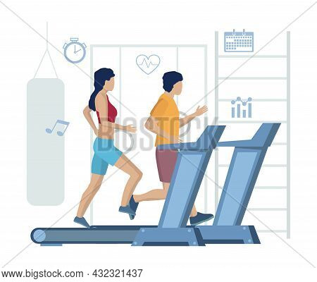 Couple Running On Treadmills, Vector Illustration. Fitness Gym Treadmill Workout, Healthy Lifestyle,
