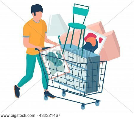 Man With Shopping Cart Full Of Home Furniture Items, Vector Illustration. Furniture Purchase, Sale C