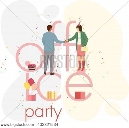 Birthday Party In Office Flat Vector Illustration. Workers Organize Holiday, Congratulate Boss. Inte