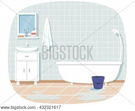 Home Interior. Bathroom Interior Design With White Furniture On Blue Background. Bath, Sink, Mirror,