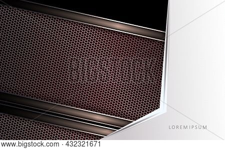 Dark Geometric Design, White Corner With An Arrow, Burgundy Burgundy Edged Curtains.