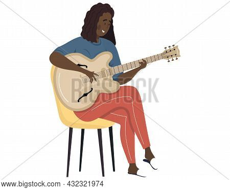 Woman Sings Song. Girl Sits On Chair Playing Guitar. Person Creates Music Isolated On White. Female