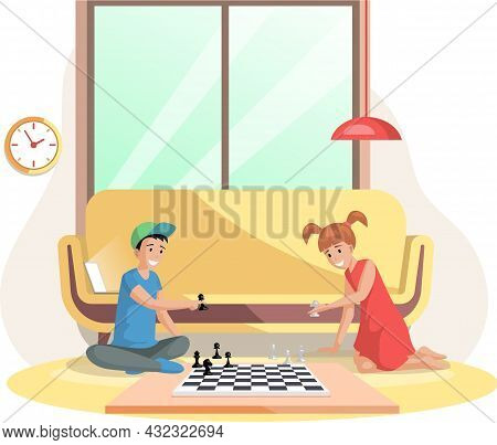 Children Playing Board Game Together. Kids Boy And Girl Friends Playing Chess Sitting On Floor. Indo