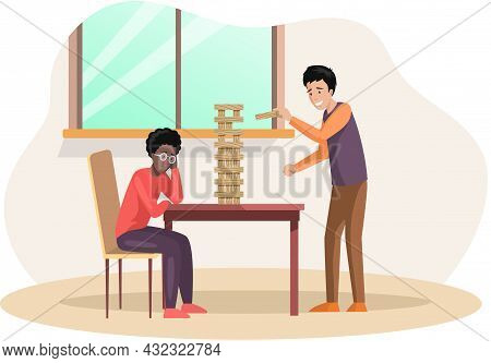 Man Playing Block Tower Home Together. People With Board Game Indoor. Male Character Is Playing With