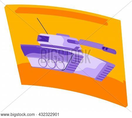 Tank Videogame Icon. Gaming Concept. Military Machine Sign Isolated On White. Armoured Fighting Vehi