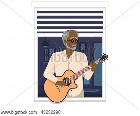 Fashionable Elderly Man Plays Musical Instrument To Audience Sings With Guitar Near An Open Window.