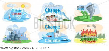 Climate Change. Flat Global Warming Tiny Persons Concept. Nature Environment Danger. Temperature Ris