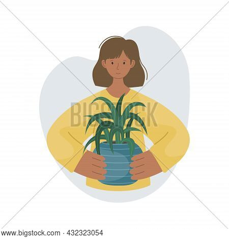 The Girl With House Plant In Pot In Her Hands. Planting Plants. Decorative Plants In The Interior Of