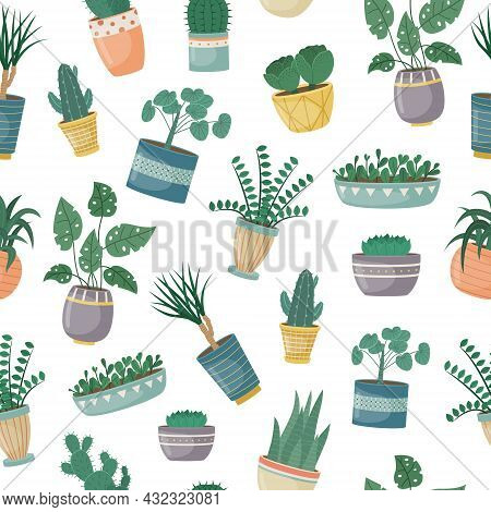 The Seamless Pattern With House Plants In Pots. Planting Plants. Decorative Plants In The Interior O