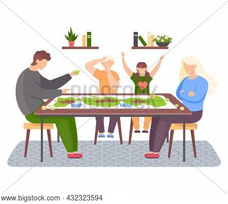 Happy Family Sitting On Chairs At Table And Playing Board Game. Living Room Interior At Home. Parent