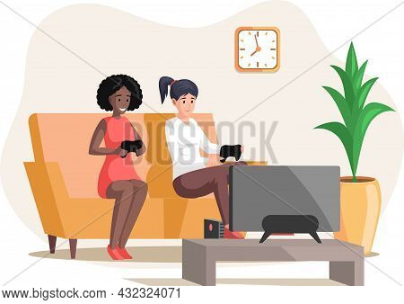 Girls Playing Video Games Sitting On Couch With Gamepad Relaxing At Home Alone. Living Room Interior