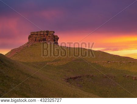 Chest Butte Of The Sunduki Mountain Range Located In The Valley Of The Bely Iyus River In Khakassia,