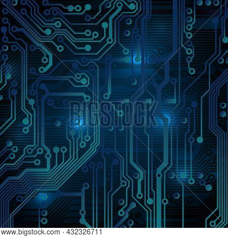 Circuit Board Background. Technological Concept Design, Light Background, Space For Text, Copy Space