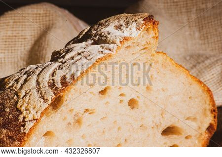 Still Life - Yeast-free Buckwheat Bread And A Linen Napkin On A Wooden Board, Wooden Background, Har