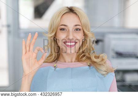 Closeup Portrait Of Happy Millennial Woman Visiting Dental Clinic