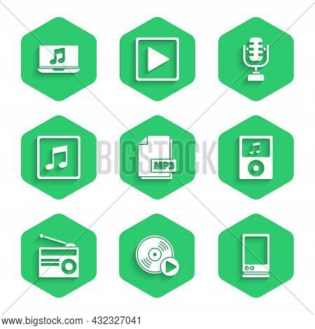 Set Mp3 File Document, Vinyl Disk, Voice Assistant, Music Player, Radio With Antenna, Note, Tone, Mi