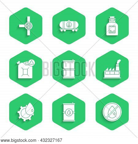 Set Barrel Oil, No Drop, Oil Industrial Factory Building, Eco Fuel Canister, Petrol Test Tube And In