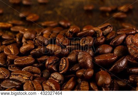 Natural Background For Cafe Menu Or Brochure Template - Macro Photo Of Brown Roasted Coffee Beans, C