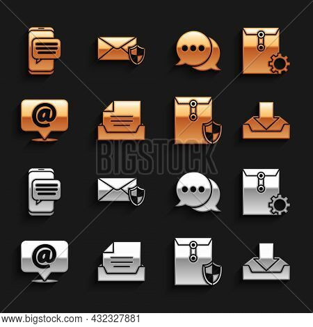 Set Drawer With Document, Envelope Setting, Download Inbox, Shield, Mail And E-mail On Speech Bubble