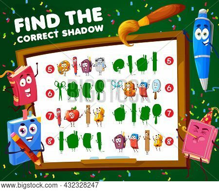 Find Correct Shadow Of School Characters Kids Game Worksheet, Vector Find And Match Puzzle. Kids Tab