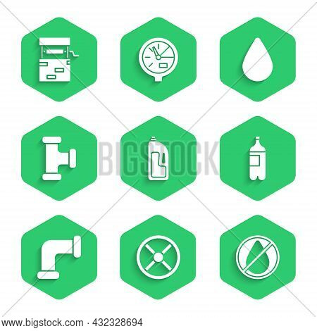 Set Container With Drain Cleaner, Industry Valve, Water Drop Forbidden, Bottle Of Water, Metallic Pi