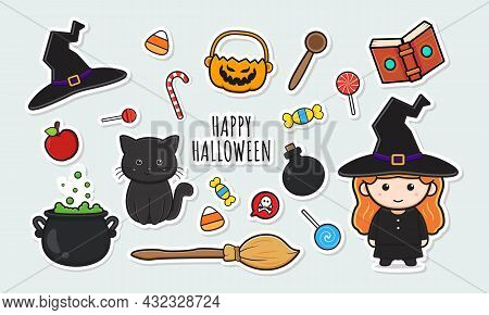 Set Collection Of Cute Witch Halloween Stickers With Object Cartoon Doodle Clip Art Icon Illustratio