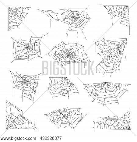 White Sticky Cobweb And Spider Web. Halloween Holiday Horror Isolated Decorations, Scary Background