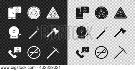 Set Phone With Emergency Call 911, Fire Flame, In Triangle, Telephone, No Smoking, Pickaxe, Ringing