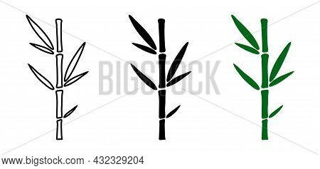 Set Of Hand Drawn Bamboo Plants. Black Outline, Silhouette And Solid Bamboo In Minimalistic Design.