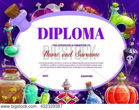 Child Diploma With Witch Magic Potions Bottles. Sorcerer Or Wizard Elixirs Fairy Flasks And Jars Car