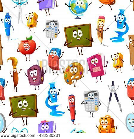 Seamless Pattern Of Cartoon Funny School Supply Characters. Childish Background, Vector Wallpaper Or
