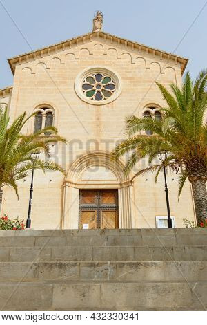 Beautiful Building Of The Parish Church Of Nativity Of Mary In Spanish . The Small Roman Catholic Ch
