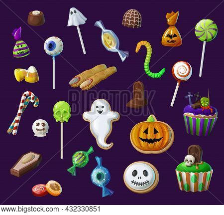 Halloween Sweets, Lollypops And Candies, Cupcakes, Candy Corn And Witch Fingers. Halloween Creepy Tr