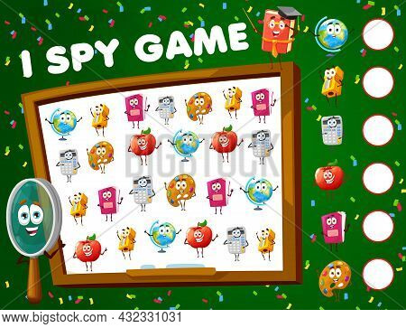 I Spy Game, Math Game Worksheet With School Characters, Vector Find And Match Riddle. Kids Tabletop