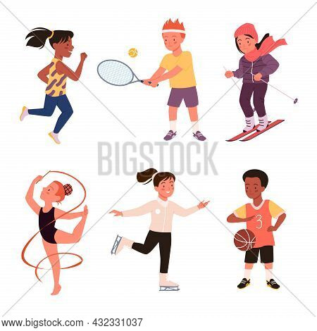 Set Of Cute Happy Boy Girl Run, Child Play, Baseball And Tennis, Active Young Children Characters Is