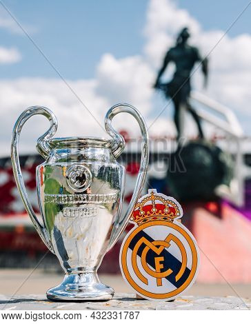 June 14, 2021 Madrid, Spain. The Emblem Of The Real Madrid Cf Football Club And The Uefa Champions L