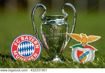 August 27, 2021 Munich, Germany. The Emblems Of Football Clubs Fc Bayern Munich And S.l. Benfica And