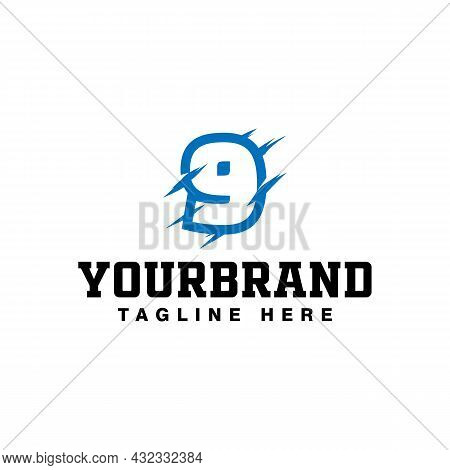 Number 9 With Claw Scratch Logo Design, Vector Illustration