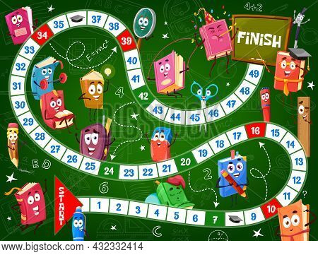 Kids Board Game, School Textbooks And Schoolbags, Vector Education Stationery Characters. Start And