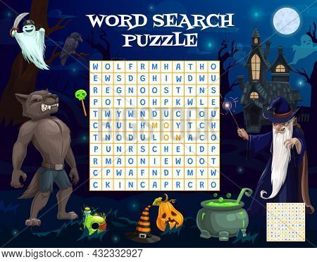 Halloween Word Search Game Worksheet With Sorcerer, Werewolf, Ghost And Sweets, Vector. Kids Riddle