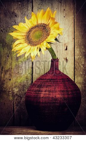Vintage image of a single sunflower on a red vase with a rustic wood planks background