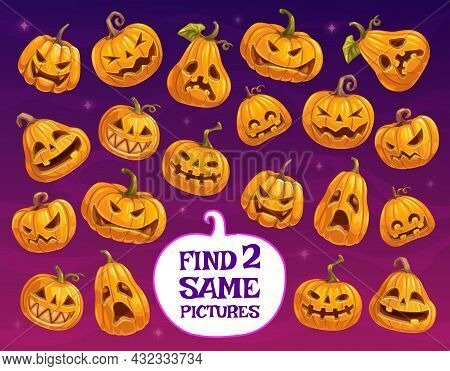 Halloween Game Or Puzzle Vector Template Of Kids Education Design. Find Two Same Pumpkin Lanterns, M